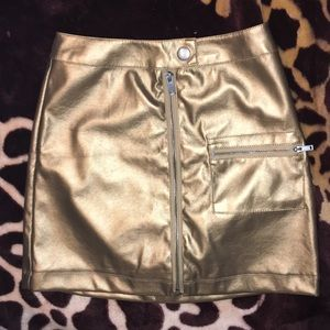 NWT Gold zip up mini skirt Urban Outfitters